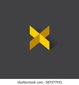 X monogram.  letter icon. Yellow origami letter with shadow on the dark background.