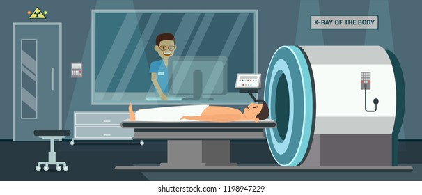 X Ray of Boby. Digital Technology in Medicine. Mri Scanner and Medicine diagnostic Concept. Mri Room in Hospital. Medical Health care Set. Doctor and Patient in Clinic. Vector Flat Illustration.