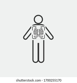 x ray vector icon chest scan medical icon