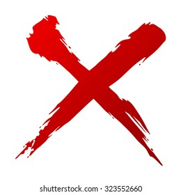 X Red handwritten vector isolated