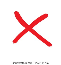 X red mark. Cross sign graphic symbol. Crossed brush strokes.