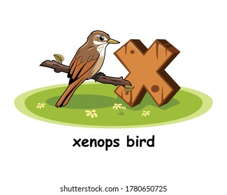 X for Xenops Bird Cartoon 3D Alphabet Wood Animals