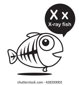 X X-ray fish animal cartoon and alphabet for children to learning and coloring page vector illustration eps10