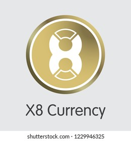 X8 Currency X8X . - Vector Icon of Virtual Currency.