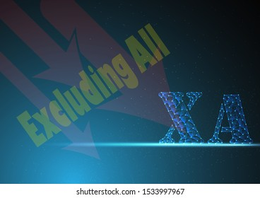 xa or excluding all is symbol on stock market build by line and gradient on blue black background.