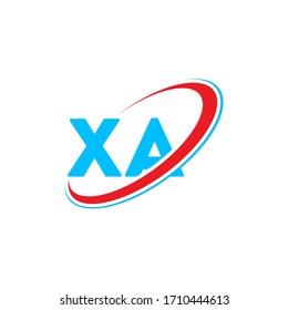 XA X A letter logo design. Initial letter XA linked circle upercase monogram logo red and blue. XA logo, X A design