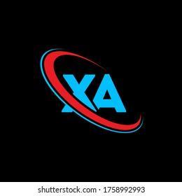 XA X A letter logo design. Initial letter XA linked circle uppercase monogram logo red and blue. XA logo, X A design. xa, x a