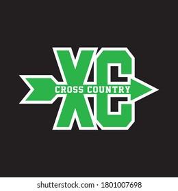XC CROSS COUNTRY  T shirt design vector