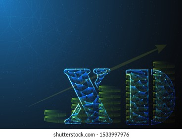 xd or excluding dividend is symbol on stock market build by line and gradient on blue black background.