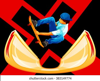 X-games poster with a skateboarder over ramp