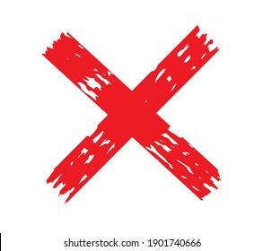 X.Grunge letter X. Vector cross sign.