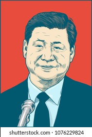 Xi Jinping a Chinese politician. Vector Portrait Drawing Illustration. April 24, 2018