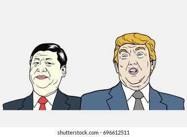 Xi Jinping and Donald Trump Illustration, Flat Design Vector. August 16, 2017.