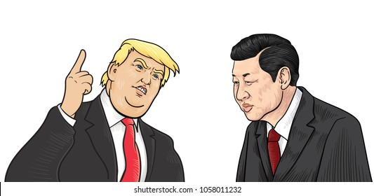Xi Jinping and Donald Trump Illustration,Vector. March 30, 2018.