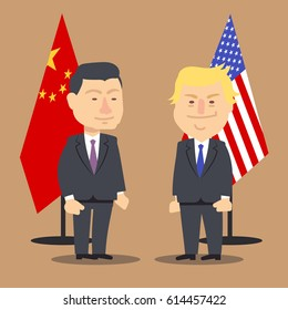 Xi Jinping and Donald Trump standing together with china and usa flags. Vector illustration, cartoon political caricature. National country president xi jinping and donald trump cooperation