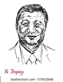 Xi Jinping, General Secretary of the Communist Party of China, President of the People's Republic of China, drawn by hand vector illustration, simple lines drawing, illustrative editorial