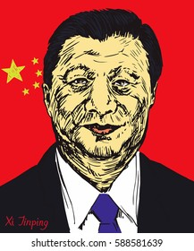 Xi Jinping, General Secretary of Communist Party of China, President of the People's Republic of China, China flag in background, hand  drawn vector illustration, pop art style