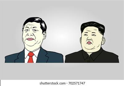 Xi Jinping and Kim Jong-un Illustration, Flat Design Vector. August 25, 2017.