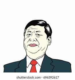 Xi Jinping, President of People's Republic of China, Flat Design Vector Illustration. August 15, 2017.