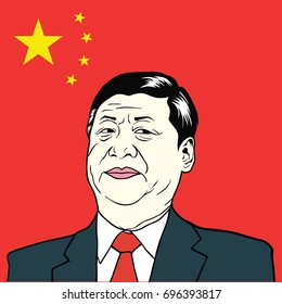 Xi Jinping, President of People's Republic of China with China's Flag, Flat Design Vector Illustration. August 15, 2017