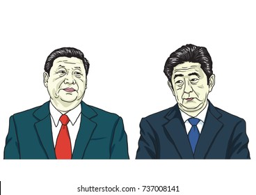 Xi Jinping with Shinzo Abe. Vector Portrait Drawing Illustration, October 18, 2017