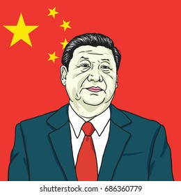 Xi Jinping Vector Portrait  Illustration with People's Republic of China Flag Background. July 30, 2017