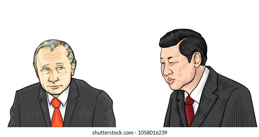 Xi Jinping and Vladimir Putin Illustration,Vector design. March 30, 2018.