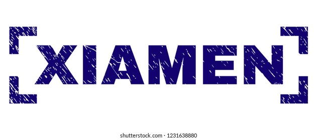 XIAMEN caption seal print with distress texture. Text caption is placed between corners. Blue vector rubber print of XIAMEN with scratched texture.