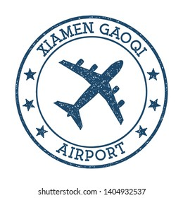 Xiamen Gaoqi Airport logo. Airport stamp vector illustration. Xiamen aerodrome.