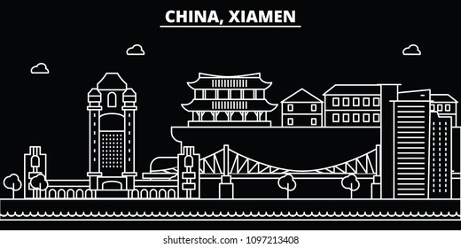 Xiamen silhouette skyline. China - Xiamen vector city, chinese linear architecture, buildings. Xiamen travel illustration, outline landmarks. China flat icons, chinese line banner