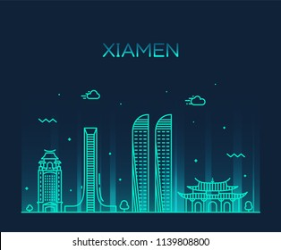 Xiamen skyline, China. Trendy vector illustration, linear style