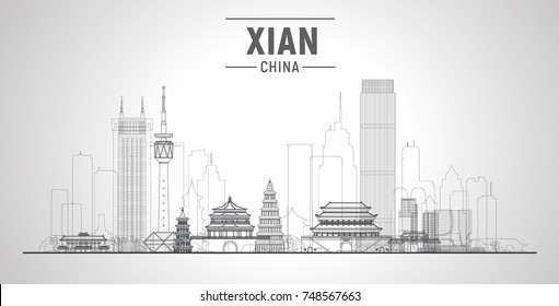 Xian line Skyline. (China ) Vector illustration. Business travel and tourism concept with modern buildings. Image for presentation, banner, web site.