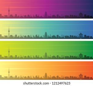 Xi'an Multiple Color Gradient Skyline Banner