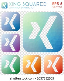 Xing squared geometric polygonal icons, brilliant mosaic style symbol collection. Sublime low poly style, modern design.