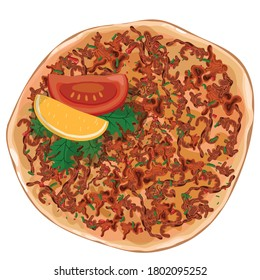 xLahmacun turkish delicious pizza with minced beef or lamb meat, paprika, tomatoes, cumin spice, parsley  vector