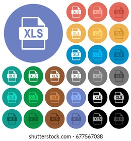 XLS file format multi colored flat icons on round backgrounds. Included white, light and dark icon variations for hover and active status effects, and bonus shades