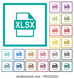 XLSX file format flat color icons with quadrant frames on white background