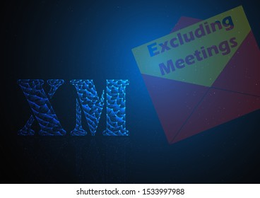 xm or excluding meeting is symbol on stock market build by line and gradient on blue black background.