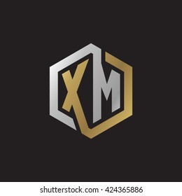 XM initial letters looping linked hexagon elegant logo golden silver black background