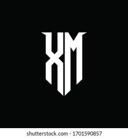 XM logo monogram with emblem shield style design template
