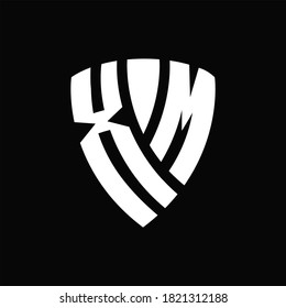 XM Logo monogram with shield elements shape design template on black background