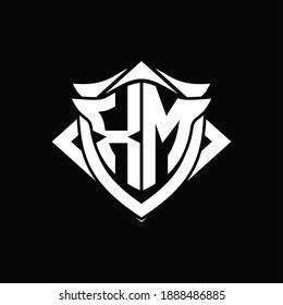 XM Logo monogram with shield and horn shape design template ON black background
