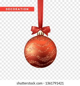 Xmas balls red color. Christmas bauble decoration elements. Object isolated a background with transparency effect