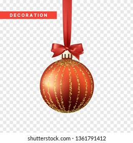 Xmas balls red and gold color. Christmas bauble decoration elements. Object isolated a background with transparency effect