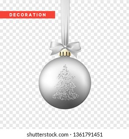 Xmas balls silver color. Christmas bauble decoration elements. Object isolated a background with transparency effect