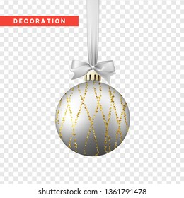 Xmas balls silver and gold color. Christmas bauble decoration elements. Object isolated a background with transparency effect