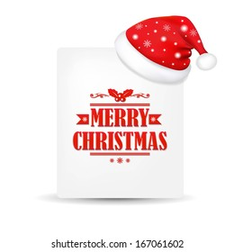Xmas Blank Gift Tag With Santa Claus Cap, With Gradient Mesh, Vector Illustration