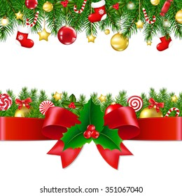 Xmas Borders With Gradient Mesh, Vector illustration