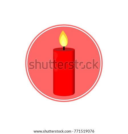 Xmas Candle Icon Christmas Symbol Flat Design Template Isolated Circle Sticker Vector