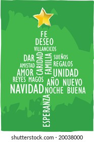xmas card tree with words in spanish